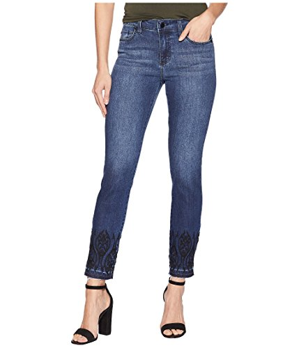 Liverpool Women's Abby Ankle Embroidered in Super Comfort Stretch Denim Jeans in Montauk Mid Blue