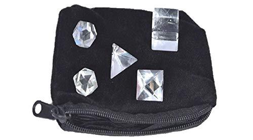 Fountain Geometry - Wow A++ Crystal Quartz 5 Stones Sacred Geometry Sets Gemstone Platonic Solid Top Grade Quality