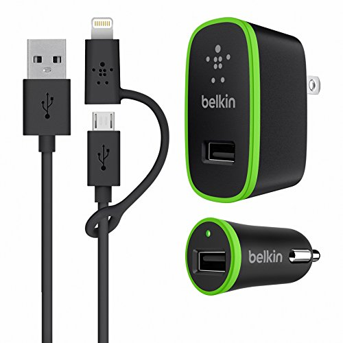 Belkin Home and Car Charger Kit with 3-Foot Micro USB Cable and Lightning Charger Adapter (Car Home Belkin And Kit Charger)