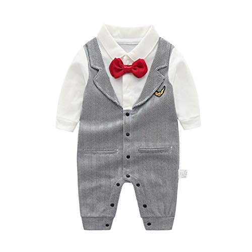 - XINXINHAIHE Toddler Baby Boy Jumpsuit Long Sleeve Shirt Striped Gentleman Romper with Tie Size 90 (Stripe)