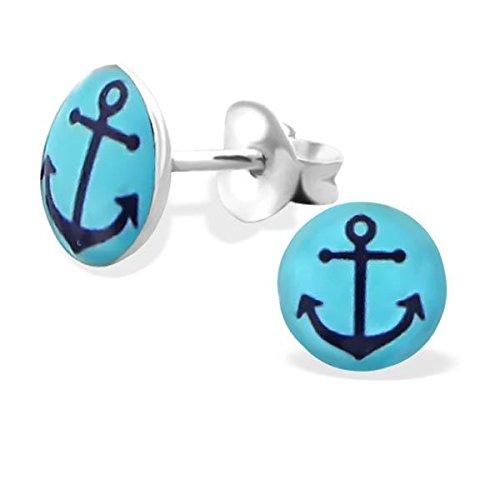 Silvadore - Ankhor transportent des clous bleus - 925 boucles d'oreille de logo Childrens argent solides - serrement du papillon - le cadeau libre a empaqueté