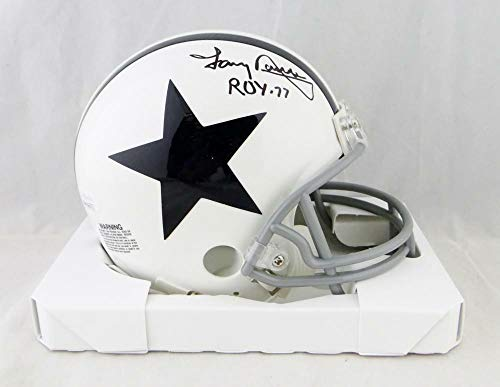 (Tony Dorsett Autographed Signed Cowboys 2004 Tb White Mini Helmet with Roy- Memorabilia JSA Authentic Black)