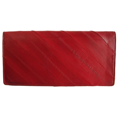 Rainbow Women's Genuine Eel Skin Leather Diagonal Slim Wallet Credit Cards Coin Purse Red
