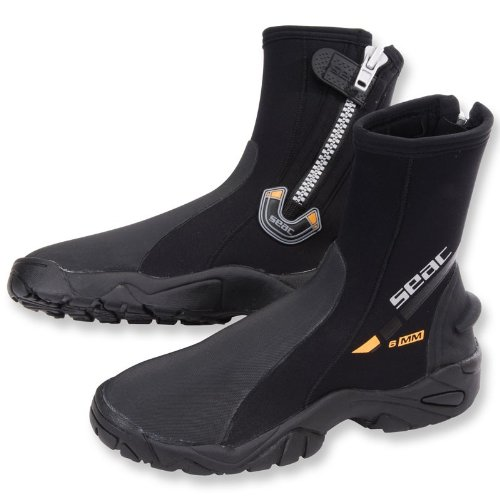 SEAC Seac 6mm Super-Stretch Zippered Hard Sole Dive Boots Booties, Medium (Neoprene Dive Boots)