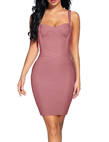 Women's V Neck Spaghetti Strap Cocktail Party Bandage Bodycon Dress (XS, Antique Pink)