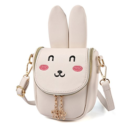 CMK Trendy Kids My First Purse For Toddler Kids Girls Cute Shoulder Bag Messenger Bags With Bunny Ear and Double Slide Zipper Novelty Birthday Gift (82008_Beige)