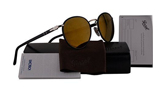 Persol PO2422SJ Sunglasses Black w/Brown Mirror Gold Lens 106439 PO 2422SJ by Persol