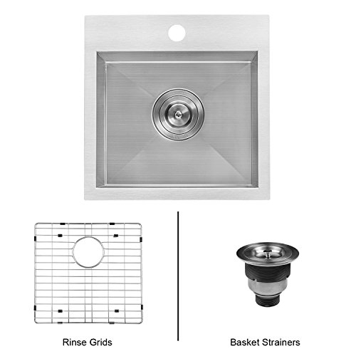 Ruvati 15 x 15 inch Drop-in Topmount Bar Prep Sink 16 Gauge Stainless Steel Single Bowl - RVH8115 ()