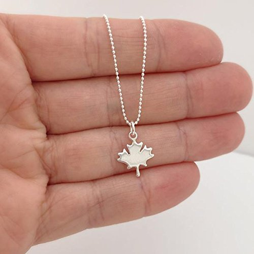 sterling silver maple leaf necklace - 18 length