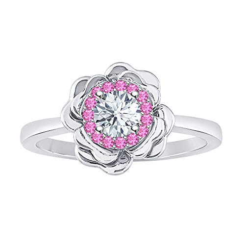 (tusakha Beautiful 14K White Gold Over .925 Sterling Silver White & Pink Sapphire Cluster Fashion Ring for Womens)