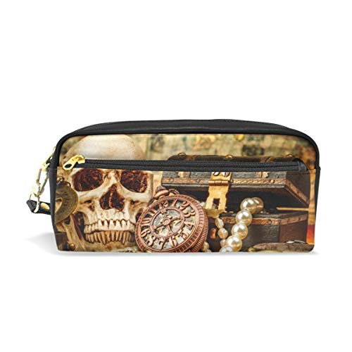 - Pencil Bag Pouch Nautical Pirate Skull Pen Case Holder with Compartments for School Student Women Cosmetic Bags Leather