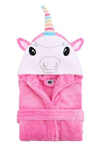 Kids Robe Animal Plush Soft Hooded Terry Bathrobe,Unicorn Pink,S(1-3 Years) by Arctic Paw (Image #1)