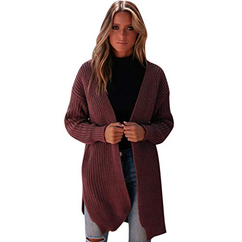 Fashion Women Winter Long Sleeve Solid Sweater Outwear Knitted Loose Plain Cardigan Coat Wine Red