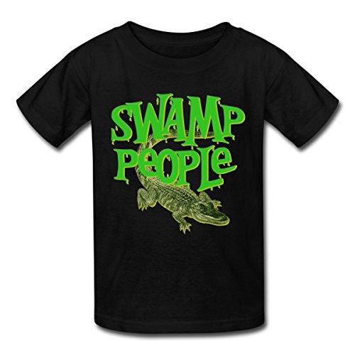 Spreadshirt Swamp People Alligator Kids' T-Shirt, L, black (T-shirt Girls People)