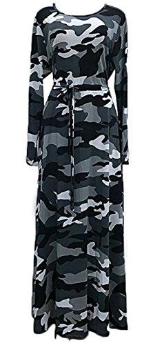 Grande Tang Des Femmes De Camouflage À Manches Longues, Plus La Taille Empire Robe Maxi Taille Gris Noir