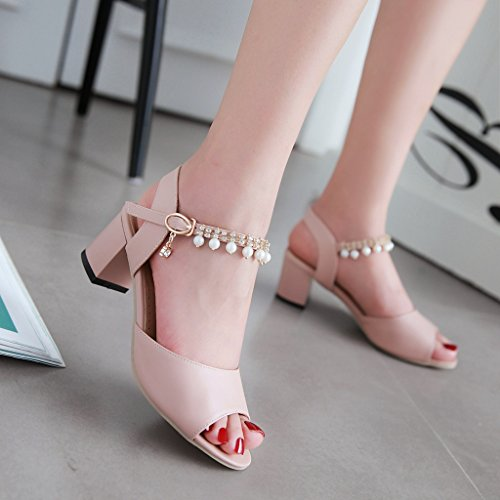 Alexandra Judith Unique Fish Mouth Women Girls Shoes Diamond Necklace Pendant Pearl Beaded Word Buckle Shallow Thick Heels After Empty Fashion Rome Sandals (Pink