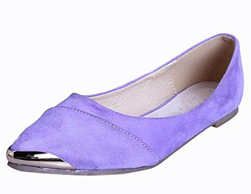 Toe Shoes Purple WSKEISP Bowknot Boats Flats Pointed Metal Women's Decoration qUz8OC