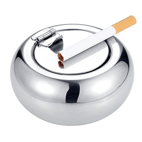 OILP Smokeless Ashtray with Lid Outdoor Windproof Ashtray Stainless Steel No Smoke Portable Self-Extinguishing Ashtrays-Silver