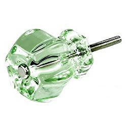 Drawer Knobs, Glass Pulls for Cabinets or Dresser Knob Hardware 8-Pack T42F Translucent Green Vintage Hexagon Shape Knob with Polished Nickel Hardware. Made by Romantic Decor & More