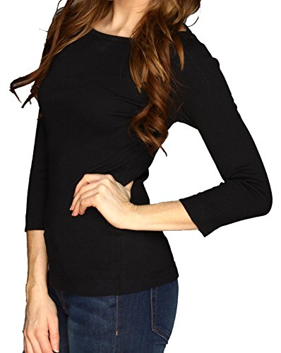 Lolichy 3/4 Sleeves Black Womens Tee Shirts Boat Neck Blouses Top L