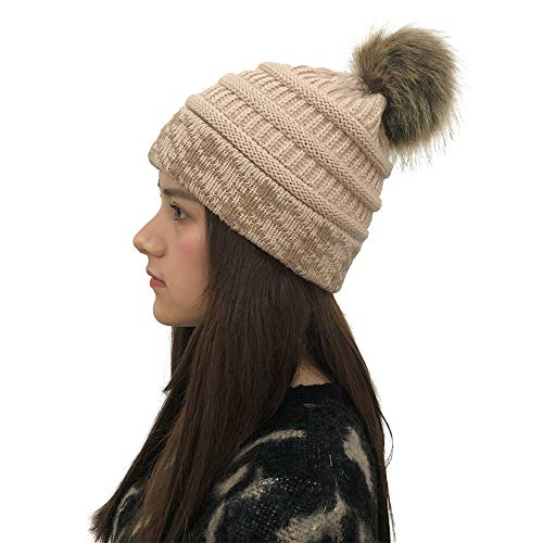 6745da5843a RAOEXI Winter Women Beanie Warm Cable Chunky Hat Knit Thick Lining  Removable Faux Fur Pom Pom