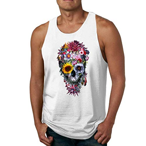 iHPH7 Men's Regular-fit Tank Top Men Women Vest Sleeveless Loose Crop Tops Tank Tops Blouse Tops T-Shirt S 3- White ()