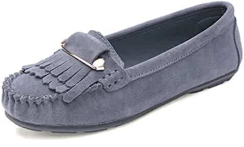 fa5625d3325e Beverly Stewart Women Ballet Flats Shoes Suede Leather Tassel Safety Pins  Buckle Ladies Moccasins Ballerina Non