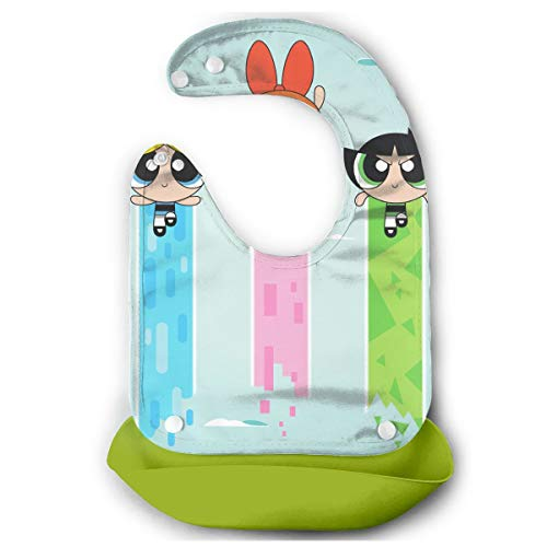 Baby Bib Cool The Powerpuff Girls Waterproof Feeding Bibs for Babies and Toddlers with Comfort-Fit Fabric Neck Green]()