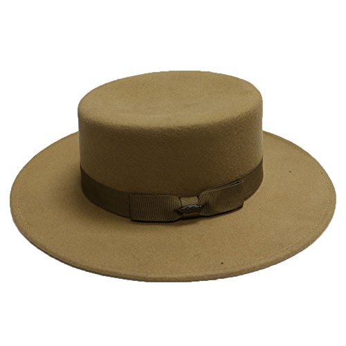 Unisex Fw42 Wool Felt Wide Brim Fedora Hats 6 Colors (Camel)