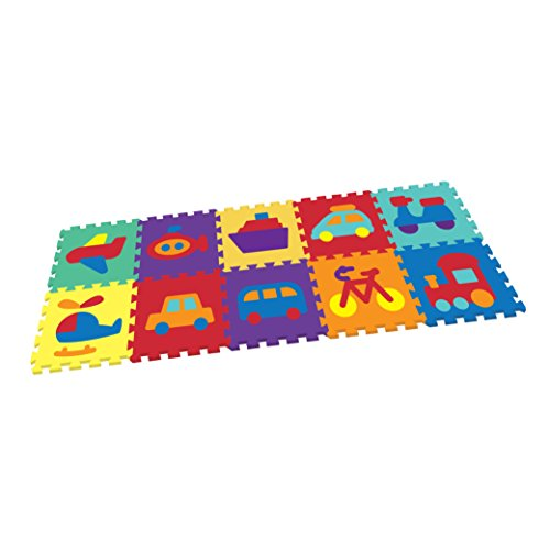 (Vehicle Rubber EVA Foam Puzzle Play Mat Floor. 10 Interlocking playmat Tiles (Tile:12X12 Inch/9 Sq.feet Coverage). Ideal for Crawling Baby, Infant, Classroom, Toddlers, Kids, Gym Workout)