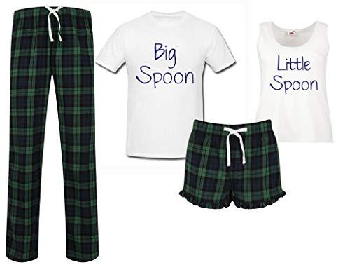 60 Second Makeover Limited Grote Lepel Kleine Lepel Koppels Bijpassende Pyjama Tartan Set Koppels Pyjama Kerst…