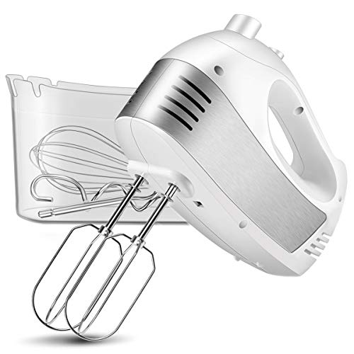 Hand Mixer Electric, Cusinaid 5-Speed Hand Mixer with Turbo Handheld Kitchen Mixer Includes Beaters, Dough Hooks and Storage Case, White