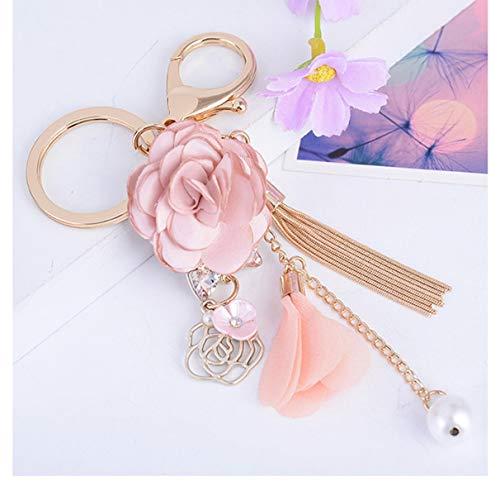 1 Pc Rose Flowers Gold Crystal Bow Tassel Keyrings Pendants Teen Wrist Wristlet Keys Hook Key Finder Famed Popular Pocket Women Bag Car Keychain ()
