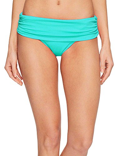 Lauren by Ralph Lauren Womens Beach Club Solids Wide Shirred Banded Hipster Bottom (Aqua, 16) (Lauren Ralph Lined Tankini)