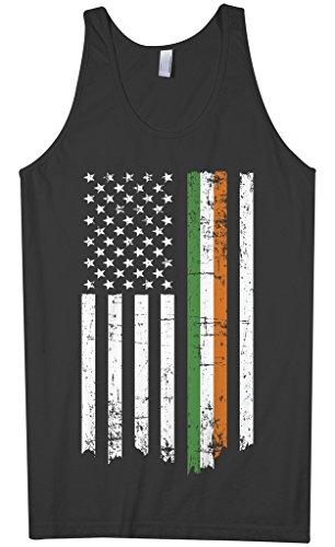 Threadrock Men's Irish American Flag Tank Top XL Black