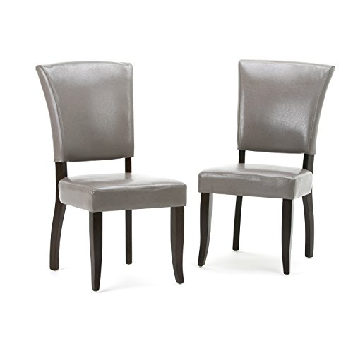 Simpli Home AXCDCHR-001-TP Joseph Contemporary Deluxe Dining Chair (Set of 2) in Taupe Faux Leather (Taupe Chairs Dining)