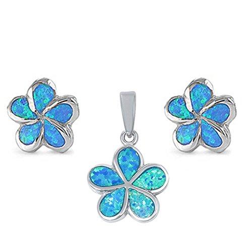 Flower Plumeria Jewelry Set Lab Created Blue Opal 925 Sterling Silver