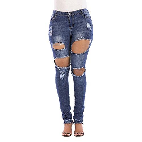 Bordado Cintura Blue Bordado del Mujeres Size de de Blue de Color Las XXXL Pantalones Nhatycir del elástico Alta Mezclilla Agujero ExY1qqF