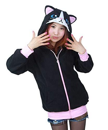 capucha Sudadera Negro Disfraz Gato Chaqueta con animal Cosplay Unisex de qtaaRwx1