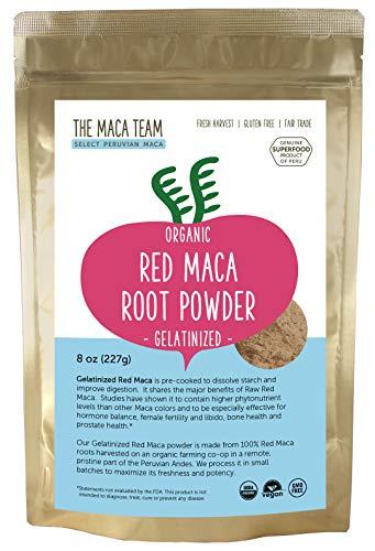 The Maca Team Gelatinized Raw Red Maca Powder, 100% Organic, Fair Trade, GMO-Free Maca Powder, 8 Ounces, 25 Servings (Best Red Maca Powder)