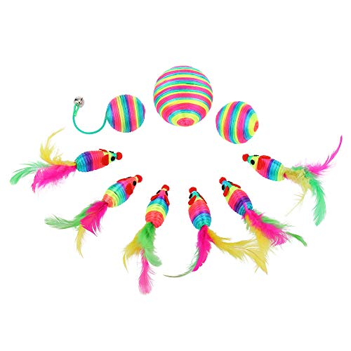 abobo Cat Toys - Rainbow Rattle rope balls/Mouse with Feather Tail for Pets/Cat/Kitten– 8 Pcs+1 Gift by abobo (Image #7)