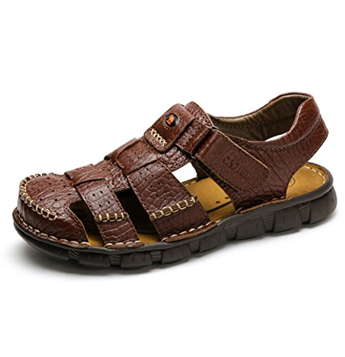 Camel Men's Fisherman Sandals Leather Breathable Close-Toe Sandal Non-Slip Adjustable Summer Beach Wear Slippers Brown (Brown Leather Fisherman Sandals)