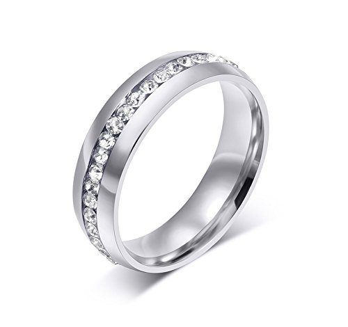 6MM Classic High Polished Stainless Steel CZ Eternity Wedding Ring Bands For Women Size 5-13 Comfort Fit ((silver)stainless-steel, - Sunglasses Great Much They Are Are These How