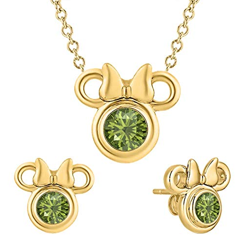 RUDRAFASHION Cute Mickey Mouse 14k Yellow Gold Over .925 Sterling Silver Green Tourmaline Earring Pendant Set for Girl's