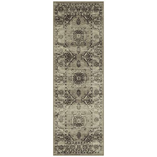 - Maples Rugs Runner Rug - Distressed Lexington 2 x 6 Non Skid Hallway Entry Rugs Runners [Made in USA] for Kitchen and Entryway, Neutral