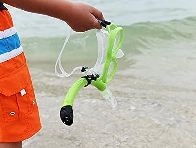 Snorkel Mask Set - Kids Snorkeling Set - Double Lens Diving Mask & Snorkel Semi Dry Top, Lower Purge Valve, Perfect for Diving, Snorkeling, Swimming -Ivation