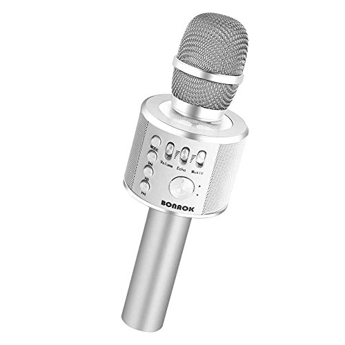 BONAOK Wireless Bluetooth Karaoke Microphone,3-in-1 Portable Handheld karaoke Mic New Year Gift Home Party Birthday Speaker Machine for iPhone/Android/iPad/Sony, PC and All Smartphone(Silver)