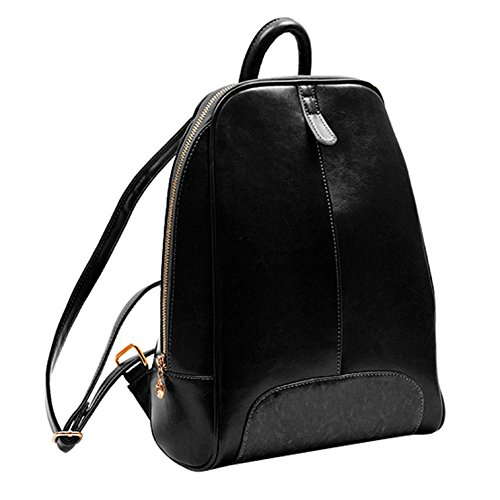 Women's Yiji Black Small Leather Leisure Backpack Pure colored aAn6ZdFA