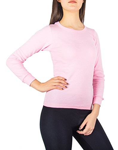 Sexy Basics A Scott Ladies Soft Fleece Lined Base Layer Long-Sleeve Thermal Cotton Crew T Shirt (Medium, Soft Pink)