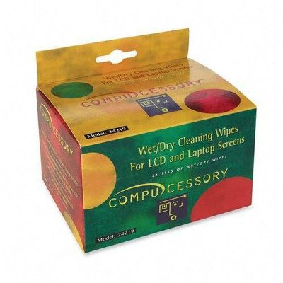 Compucessory Products - Wet And Dry Wipes, For Lcd/laptop Screens, 24 Wipes/bx - Sold As 1 Bx - Screen-cleaning Wipes Are Safe And Effective For Use On All Monitors And Computer Notebook Screens, Lcd, Led, Plasma, Dlp Screens And Glass. Twin Pack Of Wipes